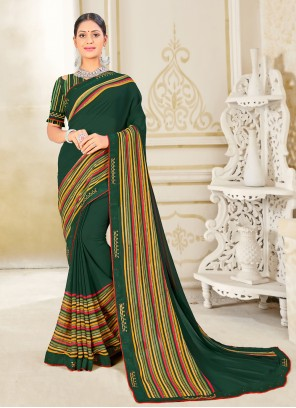 Weight Less Fancy Green Classic Saree