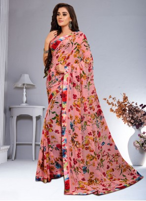 Weight Less Multi Colour Abstract Print Saree