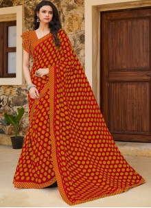 Weight Less Traditional Saree in Orange