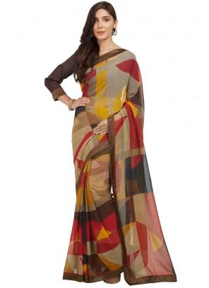 Whimsical Art Silk Printed Work Casual Saree