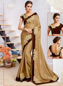 Whimsical Embroidered Work Beige Faux Georgette Designer Saree