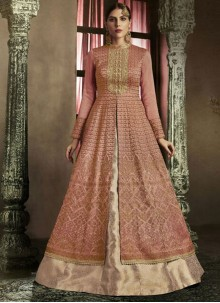 Whimsical Peach Art Silk Long Choli Lehenga