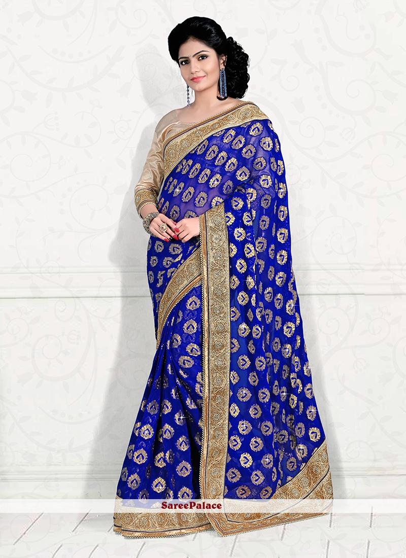 Whimsical Viscose Blue Classic Designer Saree