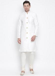 White Art Banarasi Silk Festival Kurta Pyjama