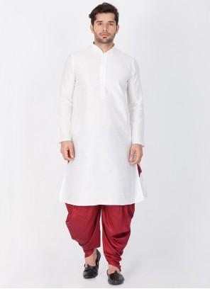 White Art Banarasi Silk Plain Dhoti Kurta