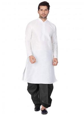 White Art Dupion Silk Party Kurta Pyjama