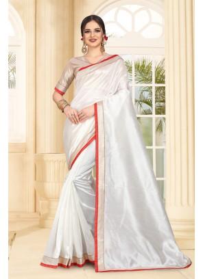 White Art Silk Casual Contemporary Saree