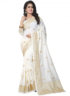 White Art Silk Designer Traditional Saree