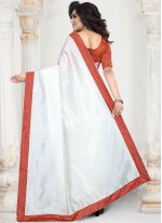 White Art Silk Festival Traditional Saree
