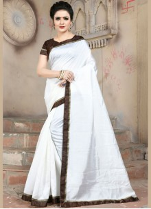White Border Art Silk Traditional Saree