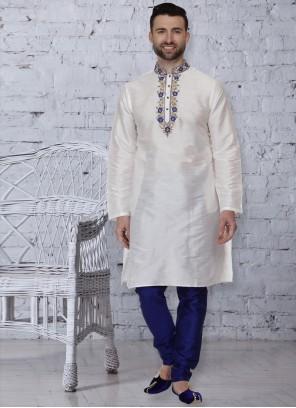 White Ceremonial Dupion Silk Kurta Pyjama