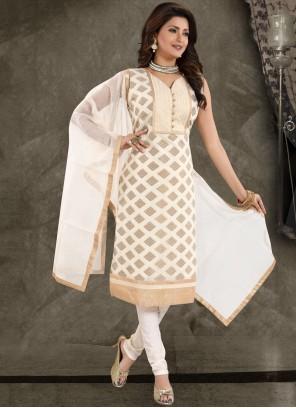 White Chanderi Fancy Churidar Designer Suit