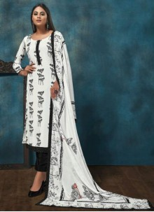 White Chinon Designer Salwar Suit