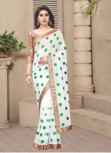 White Color Classic Saree