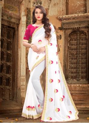 White Color Contemporary Saree
