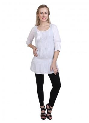 White Cotton Casual Kurti