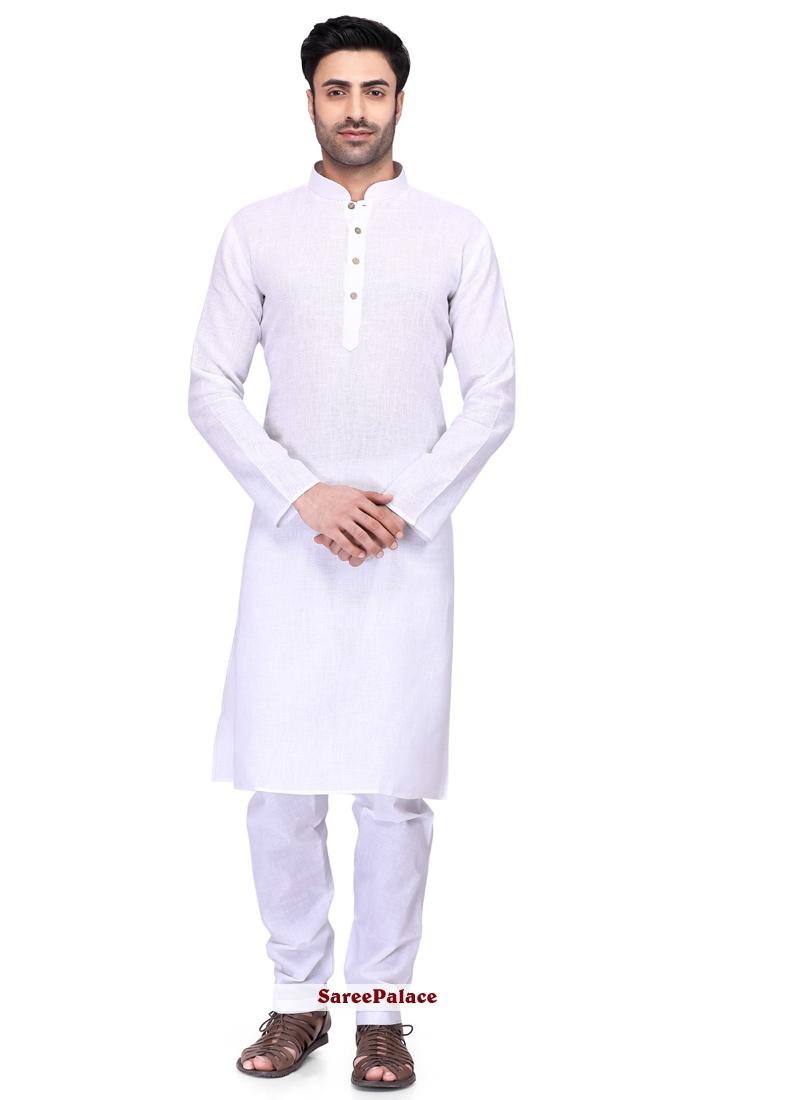 White Cotton Ceremonial Kurta Pyjama