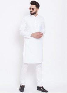 White Cotton Festival Kurta Pyjama