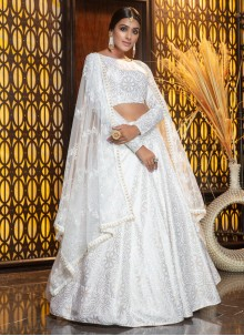 White Cotton Mehndi Trendy Designer Lehenga Choli