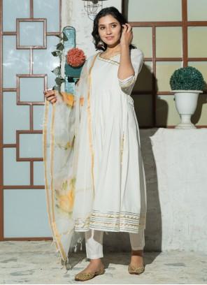 White Cotton Plain Anarkali Salwar Kameez