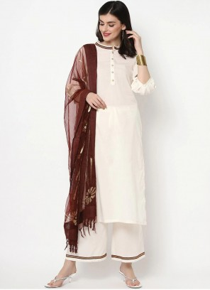 White Cotton Plain Bollywood Salwar Kameez