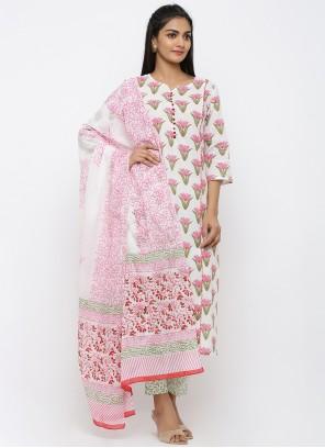White Cotton Print Salwar Suit