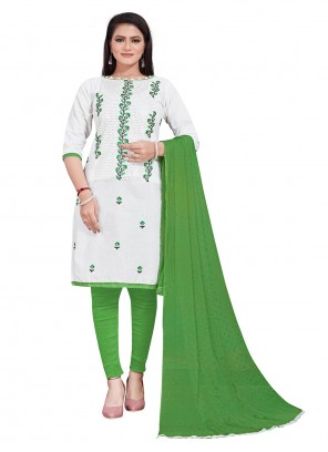White Embroidered Cotton Salwar Suit