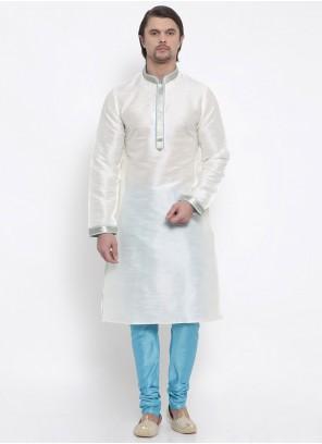 White Embroidered Art Dupion Silk Kurta Pyjama