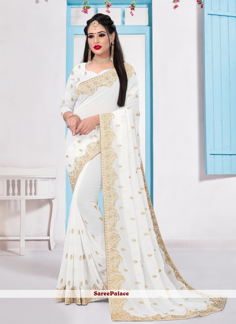 White Embroidered Bollywood Saree