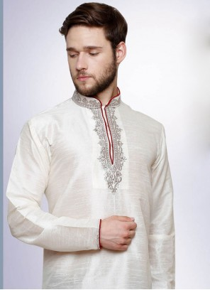 White Embroidered Ceremonial Kurta Pyjama