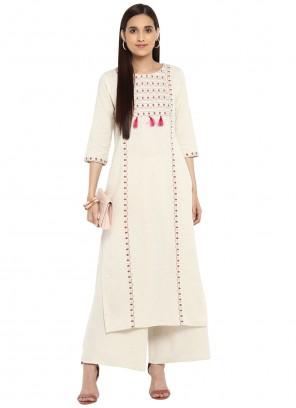 White Embroidered Designer Kurti