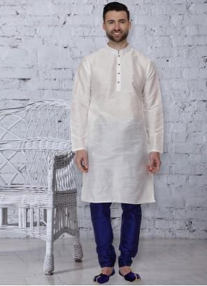 White Embroidered Dupion Silk Kurta Pyjama