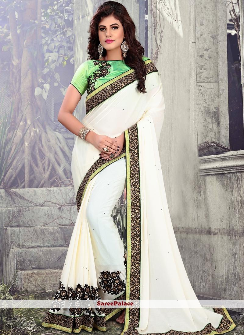 White Embroidered Faux Chiffon Classic Saree