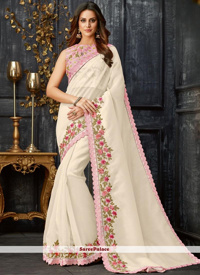White Embroidered Festival Classic Designer Saree