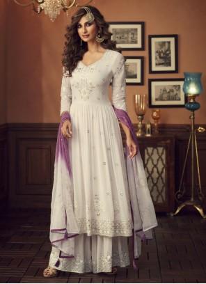 White Embroidered Georgette Salwar Kameez