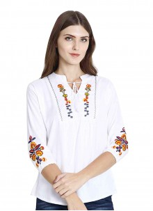 White Embroidered Mehndi Casual Kurti