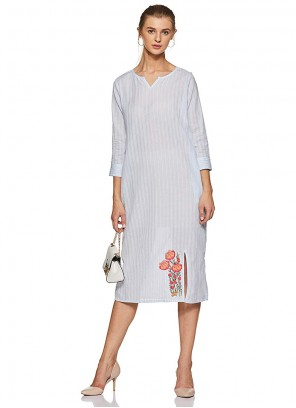 White Embroidered Party Casual Kurti