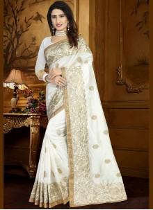 White Embroidered Work Art Silk Traditional Designer Saree