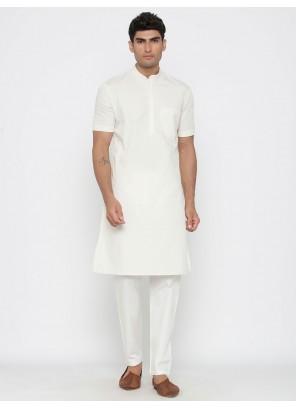 White Engagement Cotton Kurta Pyjama