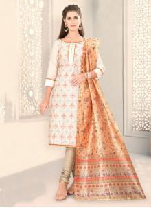 White Fancy Chanderi Churidar Designer Suit