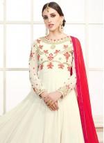 White Faux Georgette Floor Length Anarkali Suit