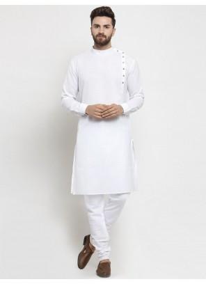 White Festival Cotton Kurta Pyjama