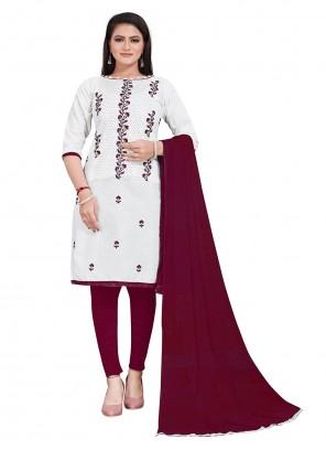 White Festival Cotton Salwar Suit