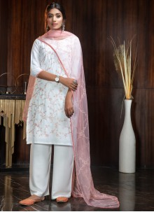 White Georgette Festival Designer Suit