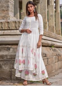 White Jamawar Silk Festival Designer Kurti