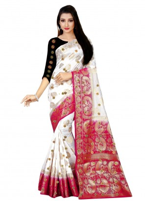 White Kanjivaram Silk Trendy Saree
