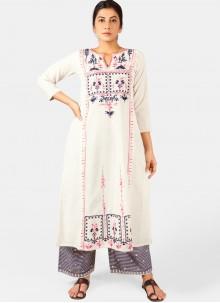 White Cotton Embroidered Designer Kurti