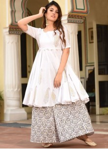 White Muslin Festival Trendy Palazzo Suit