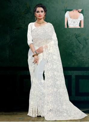 White Net Contemporary Saree