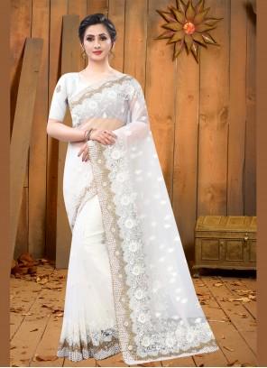 White Net Designer Saree